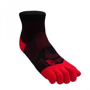 《8字繃帶》P82FT 中筒8字繃帶五趾運動襪(黑/紅)