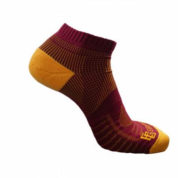 《8字繃帶》P81 短統多功8字繃帶運動襪(酒紅/黃)-S號